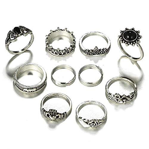 Hochwertige ICHQ, Oriental Vintage Ringe Set Frauen Punk Silber Boho Stapel Plain Ringe Fingerspitze Schmuck Geschenk Mode Frauen Ring Nagel Fingerband (B)