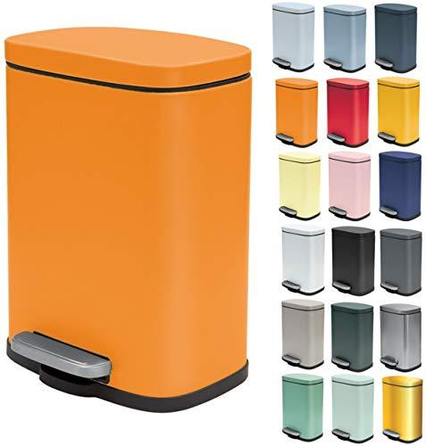 Spirella Kosmetikeimer 5 Liter Edelstahl mit Absenkautomatik und Inneneimer Akira Badezimmer Mülleimer Softclose Abfalleimer Orange