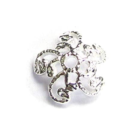 TJ2 10 of sterling silver 7mm bead flower cap beads caps