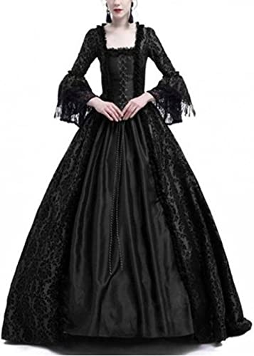 Medieval Renaissance Gown Dress for Women,Victorian Irish Gothic Retro Vintage Velvet Lace Up Female Over Long Dresses Halloween Party Queen Princess Vampire Cosplay Costumes