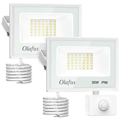 Olafus 2 Pack 35W Foco LED con Sensor de Movimiento,3800LM Super Brillo 5000K Blanco Frío, Proyector LED Sensor IP66 Impermeable, Luces de Seguridad Focos LED Exterior Jardín Garaje Patio Camino