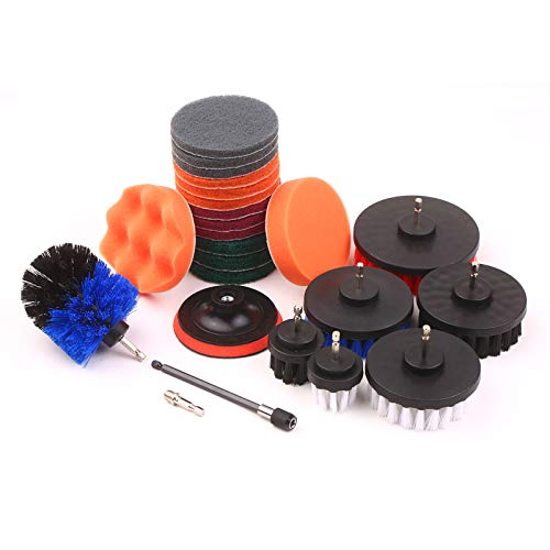 23Pcs Drill Brushes, Electric Drill Brush Buffing and Polishing Pads Set, Household Cleaning Brush Scouring Pads Set with Backer Pad for Car Grout Floor Tub Shower Head Tile Bathroom Kitchen Surface