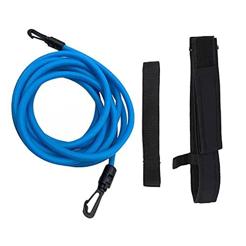 Amagogo Cinturón de Resistencia a Nadar, Cordón para Entrenar Banda Elástica, Cinturón de Ejercicio Instructor de Natación - Azul 10mm