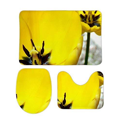 RedBeans Rutschfeste Badematte, 3-teiliges Flanell-Badezimmerteppich-Set, gelbe Tulpen, weicher WC-Vorleger