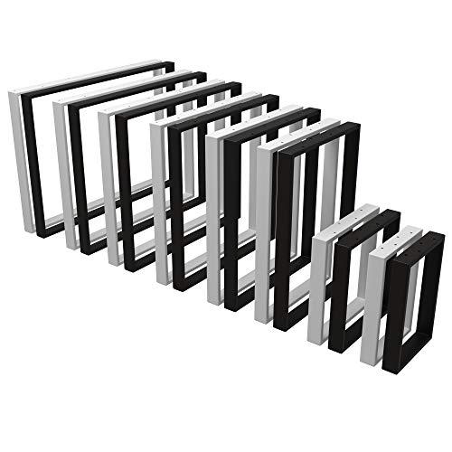 POKAR Pata de Mesa de Acero, Marcos Cuadrados Estilo Industrial DIY para Café, Mesas de la Sala de Star, Patas Metálicas de la Encimera para Muebles blanco, 80x72 cm, Conjunto de 2