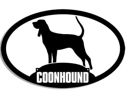 LPF USA Oval Coonhound Silhouette Sticker (Dog Hunting Breed Coon)