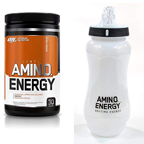 Optimum Nutrition Amino Energy Pre Workout - Orange Cooler, 30 Servings, 270 & 650ml ON Water Bottle