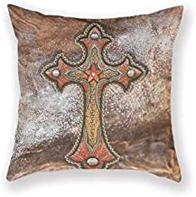 asdew987 Newaller Tooled Leather Western DéCor Faux Leather Cross Native American Patterns Cotton and Polyester Throw Pillow Case Shell Home Decorative Cushion Cover 18x18 Inches (Two Sides)