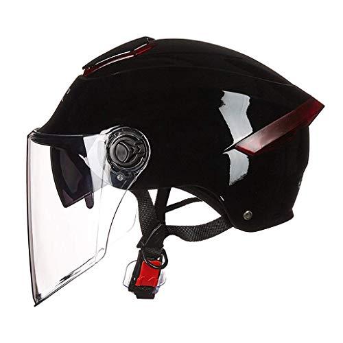YINUO-Casque Casque de moto UV universel léger pour hommes et femmes Casque de moto électrique pour hommes, crème solaire (Color : Black1)