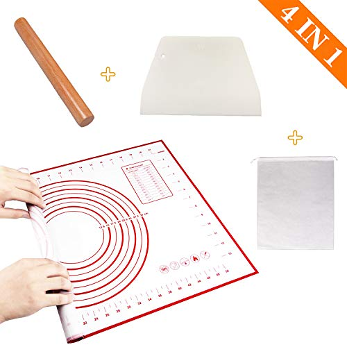 AITAOGO Silicone Pastry Mat, Non Stick Silicone Mat, Upgrade with Measurement Nonslip Baking Mat, Used for Rolling Dough, Pie Crust and Pizza, Durable Easy Clean Pastry Mat (red)