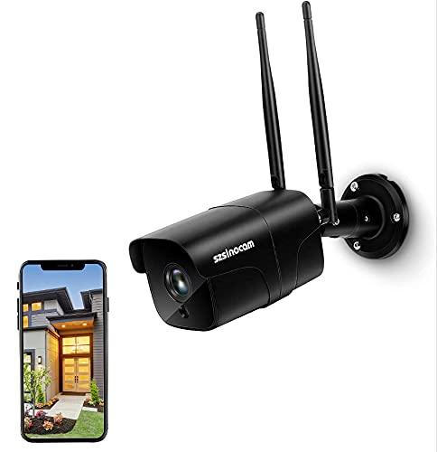 SZSINOCAM Telecamera di Sorveglianza WiFi, Telecamera IP WiFi per Esterni Visibilità Notturna HD 1080P a 30 m, Audio Bidirezionale, Impermeabile IP66, Rilevamento del Movimento, Scheda SD Fino a 128G