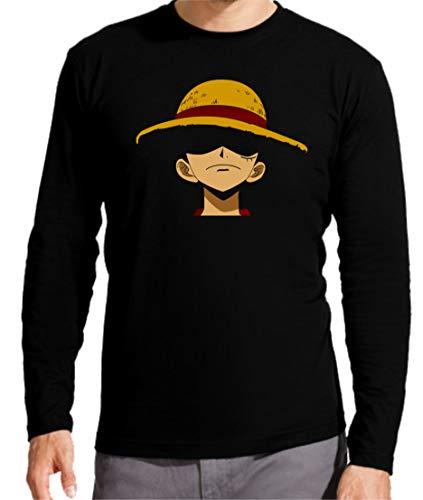 Camiseta Manga Larga de Hombre One Piece Manga Anime Luffy Sanji Roronoa 004 XL