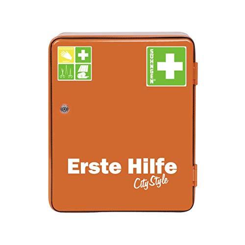Söhngen Verbandsschrank Heidelberg Norm - City Style (mit Sicherheitsschloss, erweiterbar, Inhalt nach DIN 13157, mit Verbandsmaterial, Rettungsdecke) orange, 0501030