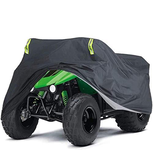 ZHSX Quad ATV Abdeckung, Schutz Wasserdichte Abdeckplane Phosphoreszierend Schmutzabweisend Winterfest Staubdicht Regen UV-Schutz 68*145*140CM für Honda Polaris Yamaha Suzuki (Schwarz)