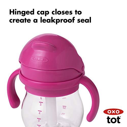 オクソーOXOTotグロウ・ハンドル付きストローカップピンクおでかけベビーマグ水分補給8カ月から200ml(最大目盛容量150ml)FDOX61101000