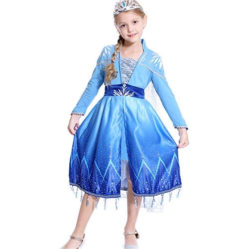 STRDK Niña Elsa Princesa Vestido Ice Queen 2 Disfraz De Fiesta De Navidad De Halloween Disfrazarse Fiesta De Carnaval Cumpleaños Mascarada Cosplay Vestido De Noche De Fiesta De Manga Larga Azul Corona
