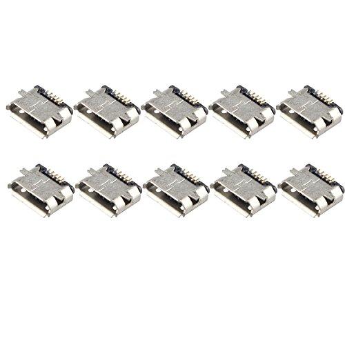 Futheda 10 Piezas Conector de Enchufe Micro USB Tipo B Hembra de 180 Grados 5 Pines SMD SMT Soldador PCB Soporte para teléfono