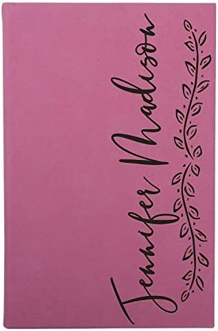 Personalized Leather Journal Pink 12 Design w Text Notebook for Women Men Customized Journals product image