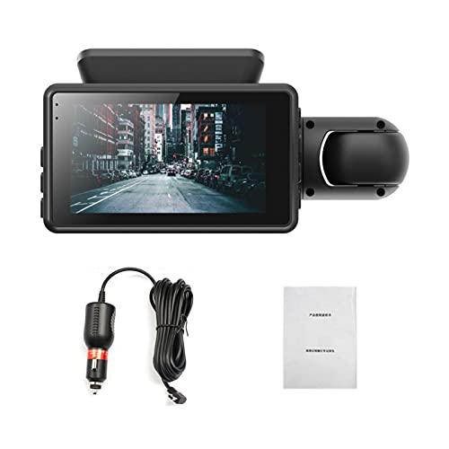 LONGRUI Cámara De Coche Dash CAM 1080P con Cámara Trasera Full HD 170 Ángulo con WDR G-Sensor, Detección De Movimiento, Grabación En Bucle, Visión Nocturna, Monitor De Aparcamiento