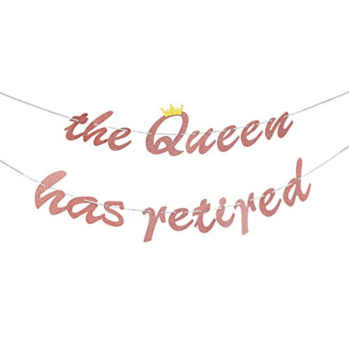 Glitter Happy Retirement Banner Bunting - Rose Gold The Queen Has Retired Banner - Retirement Party Farewell Party Decorations Supplies for Women