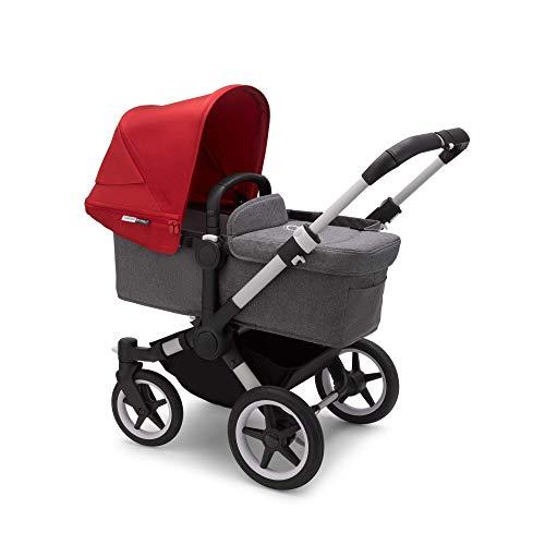 Bugaboo Donkey 3 Mono - Cochecito con capazo y silla convertible a carrito doble para que tus peques paseen lado a lado, carrito con capota roja, tejidos en gris mélange y chasis en aluminio