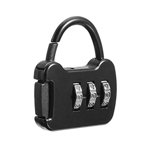 Padlock Door Lock3 Dial Digit Number Combination Password Lock Travel Security Protect Locker Mini Travel Lock-Black