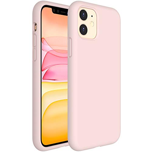 Miracase Liquid Silicone Case Compatible with iPhone 11 6.1 inch(2019), Gel Rubber Full Body Protection Shockproof Cover Case Drop Protection Case (Sand Pink)