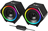 NJSJ Computer Speakers, 10W 2.0 USB-Powered Gaming Speaker with Enhanced Stereo Bass RGB Colorful LED Light, 3.5mm Aux Input Wired Multimedia Speakers for PC, Desktop,Laptop, Tablet, Cellphone- Black