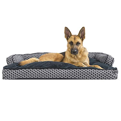 Price comparison product image Furhaven Pet Dog Bed - Plush Faux Fur and Décor Comfy Couch Pillow Cushion Traditional Sofa-Style Living Room Couch Pet Bed with Removable Cover for Dogs and Cats,  Diamond Gray,  Jumbo
