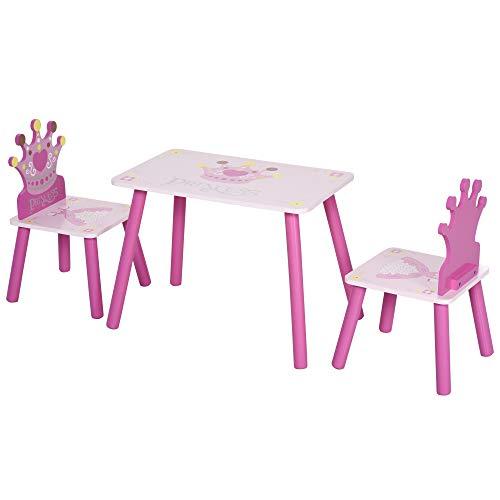 HOMCOM Juego de Mesa y 2 Sillas Infantiles de Madera Set de Mesa 55x34x42 cm Sillas 28x26x50 cm para Niños + 3 Años para Dormitorio Color Rosa