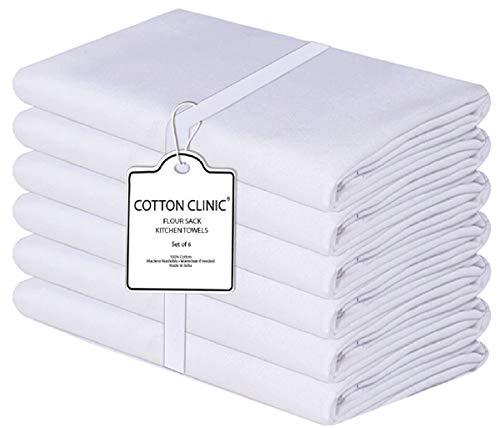Katoenen-Kliniek 6 Stuks Meel Sack Handdoeken Wit 66x66 cm, 100% katoen Meel Sack keukendoeken, Keukenservetten, Multifunctioneel, Meel Sack Theedoeken Wit
