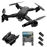 GoolRC CSJ S166 GPS RC Drone with 1080P HD Camera Follow Me Auto Return WiFi FPV Live Video Gesture Photos RC Quadcopter for Adults with 3 Battery