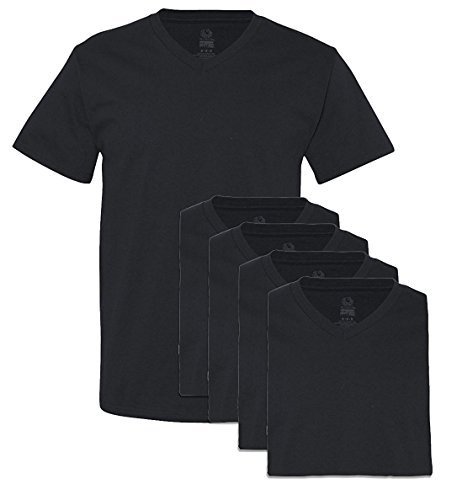 Fruit of The Loom Men's Extended Sizes V-Neck T-Shirt(Pack of 5) (Black, Medium)
