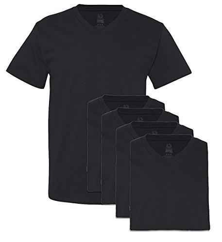 Fruit of The Loom Men's Extended Sizes V-Neck T-Shirt(Pack of 5) (Black, Medium)