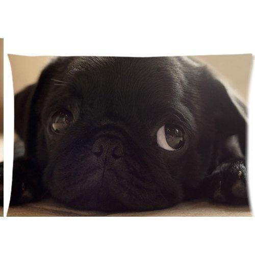 Cute Lovely Funny Noir Animal Chien carlin chiots Housse Taies d'oreiller avec fermeture Éclair 50,8 x 76,2 cm