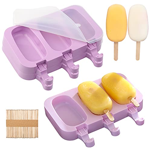 9 Stück Silikon Eisformen Formen, EIS am stiel Formen Lebensmittelqualität Silikon Ice Lolly Mold, Popsicle Formen mit 150 Stück Holzstiele, Deckel Stieleisform für Kuchenform Frozen Dessert Eisformen
