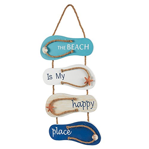 Juvale Flip Flop Wall Ornament, Slippers Hanging Decoration with Beach Design, Ocean Decorfor Living Room, Bedroom, and Dining Room, 8.75 x 3.75 Inches