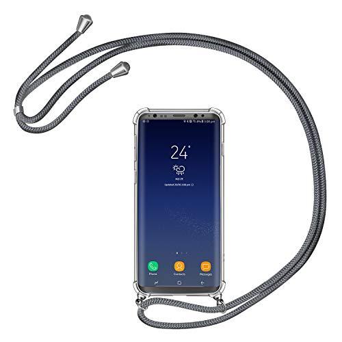 AROYI Handykette Handyhülle für Samsung Galaxy S8 Hülle mit Kordel zum Umhängen Necklace Hülle mit Band Schutzhülle Transparent Silikon Acryl Hülle für Samsung Galaxy S8 -Grau