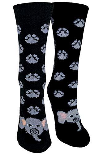 sock snob - 1er Pack Antirutsch Abs Rutschfest Kuschelsocken/Socken mit Cartoon Tiere Motiv (37-42 EU, ELEFANT)