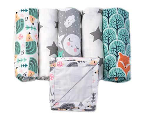 3x Moltontücher + 2x Mulltücher inklusive 1 Wickelunterlage für Unterwegs - MADE IN EU - Spucktücher für Jungen und Mädchen- Stoffwindeln - Moltontücher Mint - FENSILO