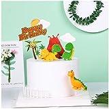 Juego de 7 adornos para tartas de cumpleaños con diseño de dinosaurios con texto en inglés 'Happy Birthday' para fiestas de cumpleaños, baby shower