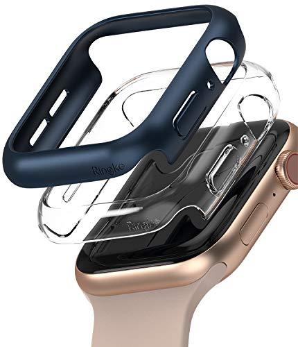 Ringke Slim Compatibile con Cover Apple Watch Serie 6/SE/5/4 44mm, Custodia PC Antigraffio (2 Pezzi) - Clear & Metallic Blue
