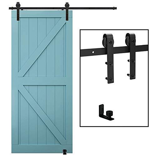 TSMST 6FT/183CM Herraje para Puerta Corredera Kit de Accesorios para Puertas Correderas con Guía de Suelo Ajustable