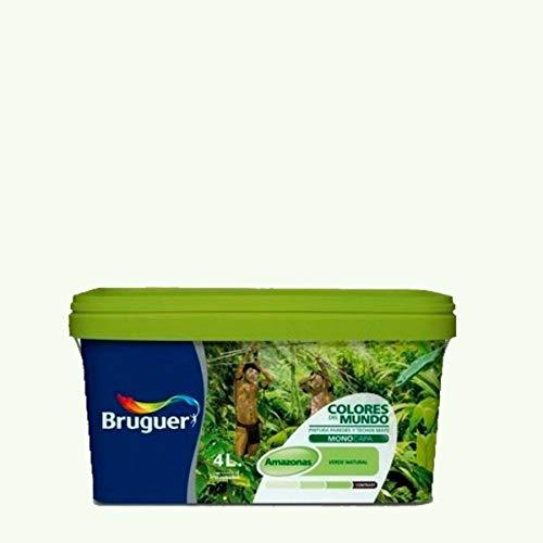 Bruguer Colores del Mundo Pintura para paredes monocapa Amazonas Matiz de Verde 4 L