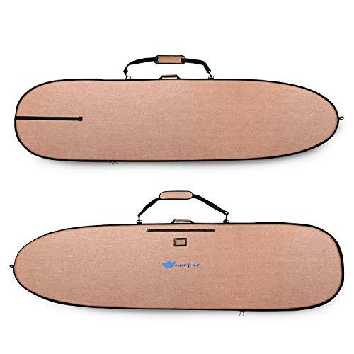 Longboard Surfboard Bag - Hemp Day Bag Keeps Surfboard Cooler + Alloy Reflection, YKK Never Break Nickel Plated Zippers - 4 Pockets (Grizzly Bear Brown, 8â6, Long Board Surfboard, Fits 1 Brd)