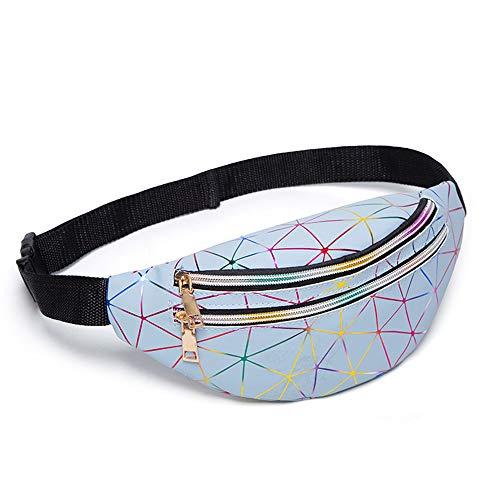Korean Style Rhombus Pattern Shiny Bling Sporting Fanny Pack Waist Bag Zipper Crossbody Purse Shoulder Bag for Woman & Girl (Blue)