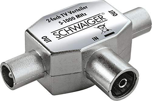 SCHWAIGER -ASV42 531- Aufsteckverteiler 2-fach TV für Kabel- und Antennenanlagen | 1x IEC-Buchse > 2X IEC Stecker | silber