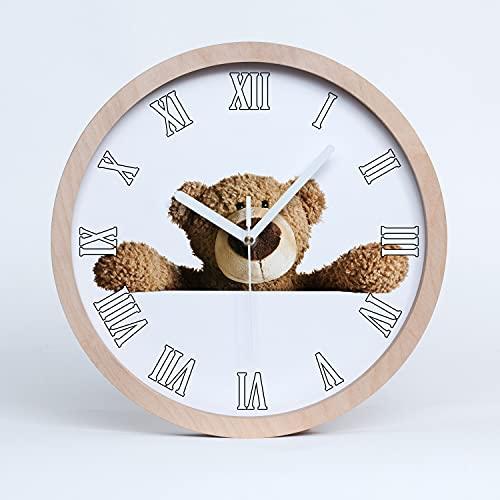 Tulup Reloj de Pared  25cm De Madera De Cuarzo Decoración Moderno Silencioso Relojes Manecillas Blancas - Oso de Peluche