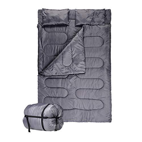 EUGAD Schlafsack für 2 Personen Outdoor Camping Deckenschlafsack 210T Polyester 3 Jahreszeiten 220x150cm Baumwollhohlfaser Füllung warm und leicht für Kinder und Erwachsene