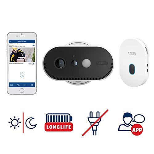 ABUS Akku-Überwachungskamera PPIC90000 WLAN HD Kamera für Innen und Außen mit Basisstation - 120 Grad Blickwinkel - 100% kabellos - weiß - 87913